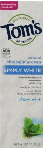 $12.20 Tom's of Maine Simply White Natural Toothpaste, Clean Mint , 4.7 Ounce(Pack of 6)