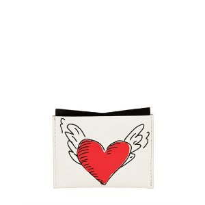 ROGER VIVIER - COEUR TATTOO LEATHER CARD HOLDER - WALLETS - WHITE - LUISAVIAROMA