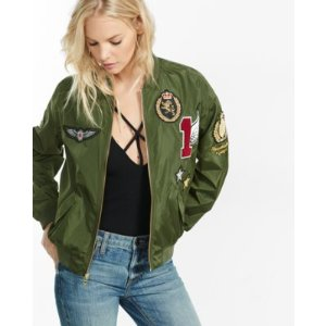 olive bomber jacket with graphic patches