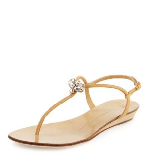 Giuseppe Zanotti Jeweled Leather Demi-Wedge Sandal, Cream @ Bergdorf Goodman