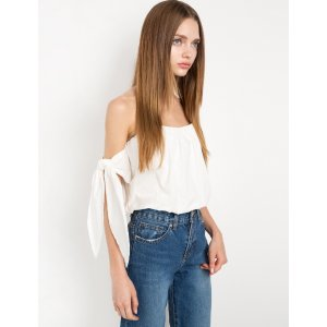 Gia White Arm Tie OTS Top