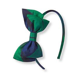 Baby Girl Emerald Plaid Plaid Headband at JanieandJack