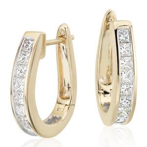 Princess-Cut Hoop Diamond Earrings in 18k Yellow Gold (1.5 ct. tw.) | Blue Nile
