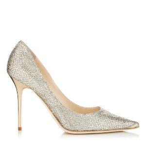Champagne Glitter Pointy Toe Stiletto Pumps | Abel | JIMMY CHOO