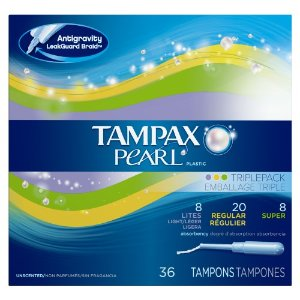 Tampax Pearl Plastic Tampons Multi-Pack, Light, Regular And Super, Unscented, 36 Ct | Jet.com