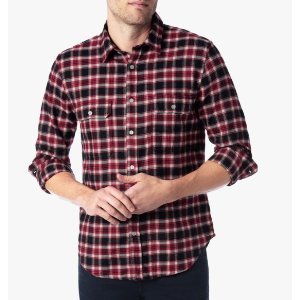 LONG SLEEVE BRUSHED FLANNEL SHIRT IN RED PLAID 格子衬衫