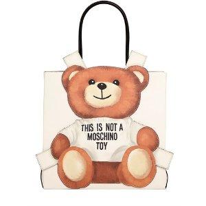 MOSCHINO - TEDDY BEAR TAB FAUX LEATHER TOTE BAG - TOTES - WHITE - LUISAVIAROMA