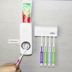 Bulletsky Automatic Toothpaste Dispenser With Super Sticky Suction Pad And Toothbrush Holder