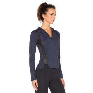 Lanston Sport Mesh Paneled Zipneck Long Sleeve Top in Navy | REVOLVE