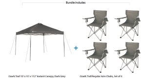 Ozark Trail Instant 10x10 Straight Leg Canopy with 4 Chairs Value Bundle