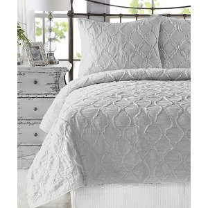 Light Gray Wavy Handcrafted Ruffle Quilt Set | zulily