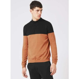 Navy and Tan Colour Block Slim Fit Sweater - New This Week - New In - TOPMAN USA