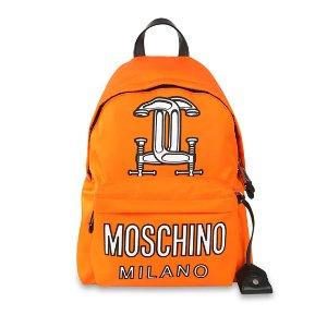 Moschino Logo-Print Tech-Fabric Backpack, Orange