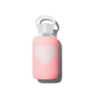 Bkr Beauty Bottle Elle Heart 8 oz. Water Bottle - Opaque Pastel Neon Coral With Pink Heart