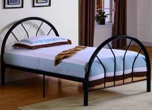 $91.79 Roundhill Furniture Belledica Metal Bed Set with Headboard, Black, Twin