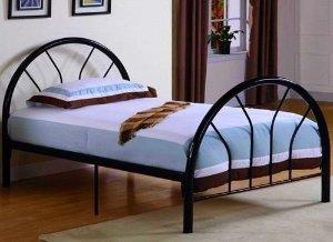 $91.79 Roundhill Furniture Belledica Metal Bed Set with Headboard, Black, Twin