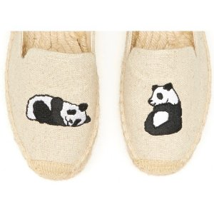 Soludos Jason Polan Panda Embroidered Platform Smoking Slipper in Sand Panda - Soludos Espadrilles