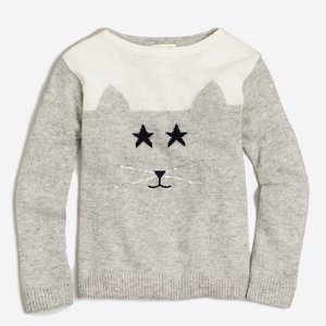Girls' embellished cat intarsia popover sweater : Popovers | J.Crew Factory
