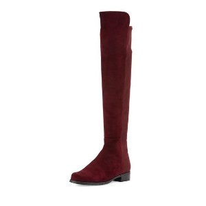 Stuart Weitzman 50/50 Suede Over-the-Knee Boot, Bordeaux