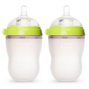 Comotomo Silicone 8 Ounce Baby Bottle 2 Pack - Green - Comotomo - Babies