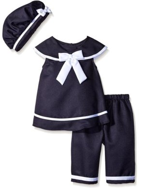 Rare Editions Big Girls' Navy Nautical Capri Set