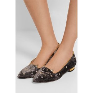 CHARLOTTE OLYMPIA Kitty embroidered velvet point-toe flats