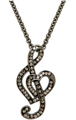 Treble Clef Pendant with Swarovski Crystals