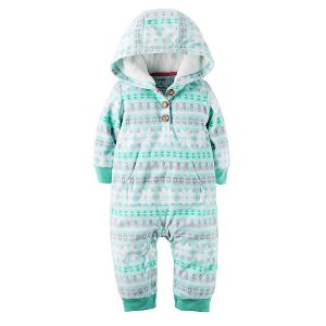 Carter's Girls Blue Fair Isle Printed Zip Up Hooded Coverall - Carters - Babies