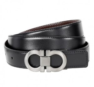 FERRAGAMO Reversible Adjustable Calfskin Leather Belt Black / Brown