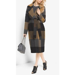MICHAEL MICHAEL KORS Plaid Wool-Blend Wrap Coat