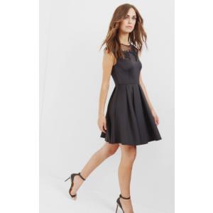 Embroidered mesh detail skater dress - Black | Dresses | Ted Baker