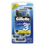 Gillette Customplus 3 Sensitive Men's Disposable Razor,4 Count