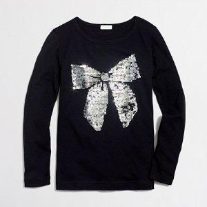 Girls' long-sleeve sequin bow keepsake T-shirt : keepsake t-shirts | J.Crew Factory
