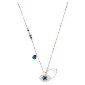Swarovski Rose Gold-Tone Crystal Evil-Eye Pendant Necklace