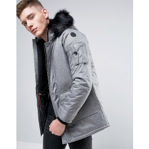 Native Youth Padded Parka with Faux Fur