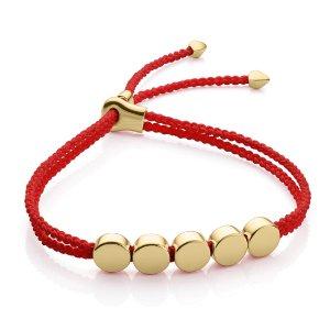 Linear Bead Friendship Bracelet in 18ct Gold Vermeil on Sterling Silver