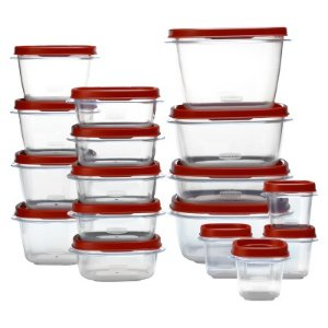 Rubbermaid Easy Find Lids Food Storage Container, 34-piece Set, Red