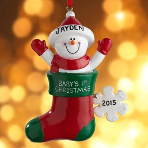Personalized Baby Snowman in Christmas Stocking Ornament - Walmart.com