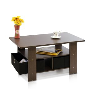 Furinno 11158DBR/BK Coffee Table with Bins