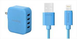 $8.99 Lumsing USB Cable 1M  (Apple Certified) and 4 Ports Charger (Blue Color)