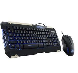 Tt eSPORTS COMMANDER LED Ilumination Gaming Keyboard and Mouse Combo Bundle KB-CMC-PLBLUS-01