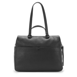BLACK LEATHER SATCHEL | KARA BAG