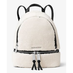 Rhea Small Shearling and Leather Backpack | Michael Kors