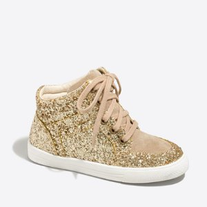 Girls' glitter high-top sneakers : Shoes | J.Crew Factory