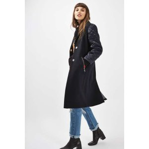 Quilted Sleeve Coat - Sale - Sale & Offers - Topshop USA