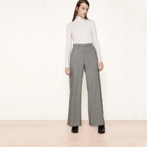 PANAME Wool jacquard wide-leg trousers - Pants - Maje.com