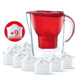 Brita Marella Cool Water FilterI Jug - Red Passion 2.4L (Includes 9 Maxyra Cartridges)