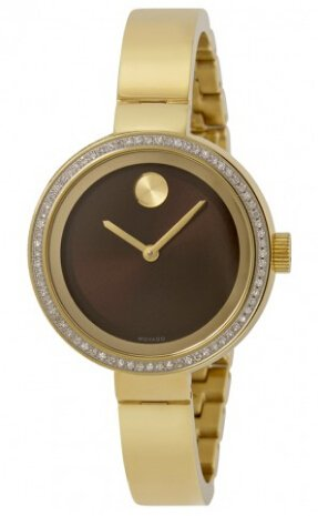MOVADO Bold Chocolate Metallic Dial Diamond Yellow Gold Ion-plated Ladies Watch