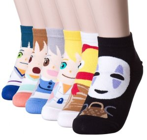 Dani's Choice Famous Japanese Animation Print Crew Socks