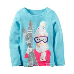 Baby Girl Long-Sleeve Ski Girl Graphic Tee | Carters.com